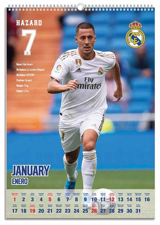 Real Madrid Official 2020 Soccer Calendar A3