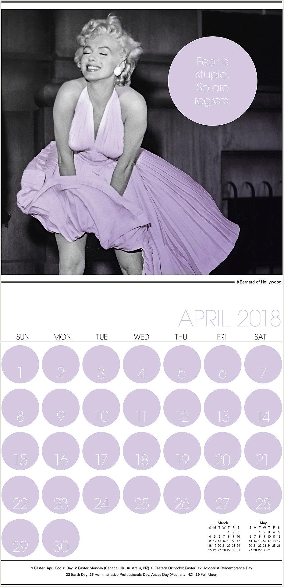 1dc96eb7784 Marilyn Monroe   2018 Mini Wall Calendar