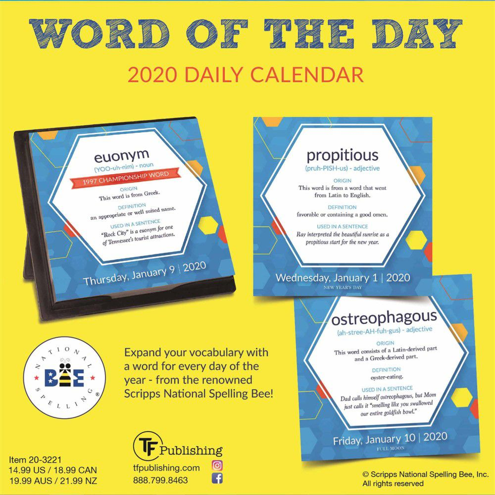 Scripps Spelling Bee Word List 2020.Word Of The Day Daily 2020 Calendar By Scripps National