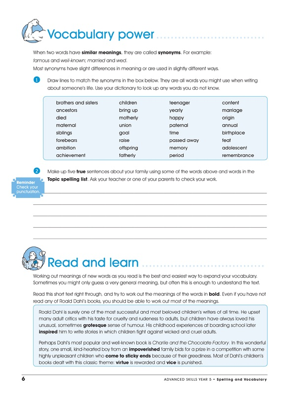 Excel Advanced Skills Spelling And Vocabulary Workbook Year 5 Year