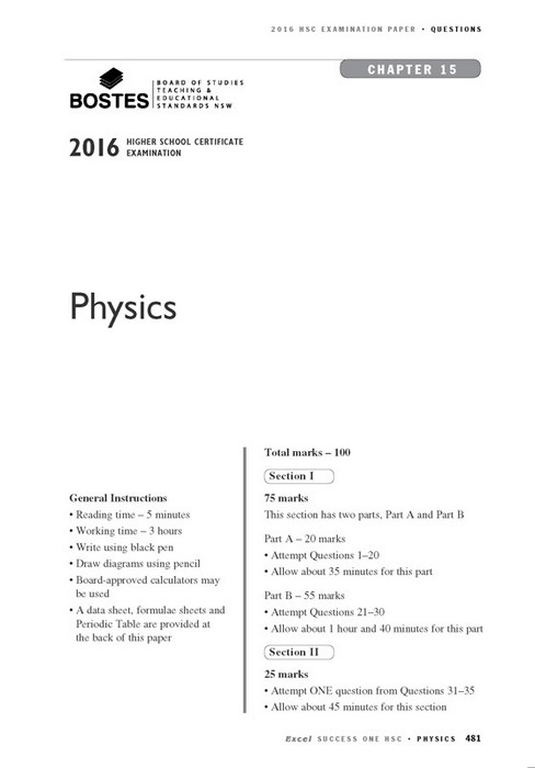 Excel Success One HSC - Physics Study Guide 2017 Edition