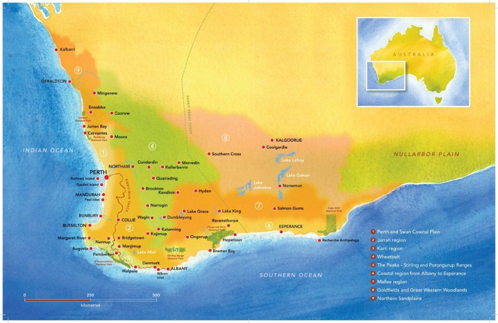 Southwest Australia Map.The Southwest Australia S Biodiversity Hotspot By Victoria Laurie