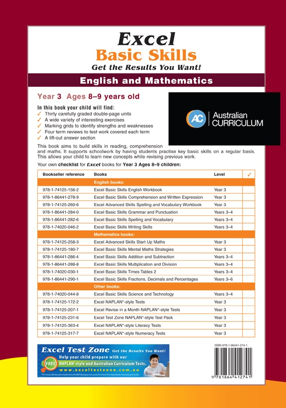 Booktopia - Excel Basic Skills English and Mathematics , Year 3 Ages ...